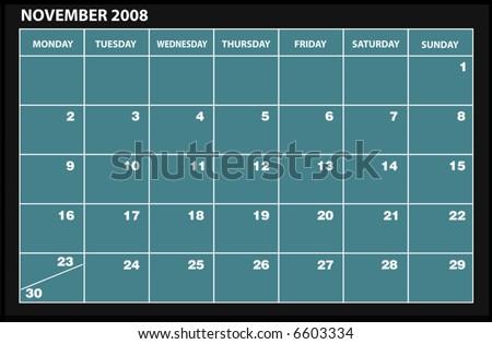 vector 2008 NOVEMBER calender - stock vector