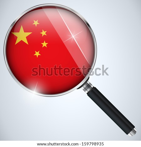 Vector - NSA USA Government Spy Program Country China - stock vector