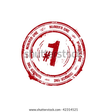 vector number one, leader stamp - stock vector