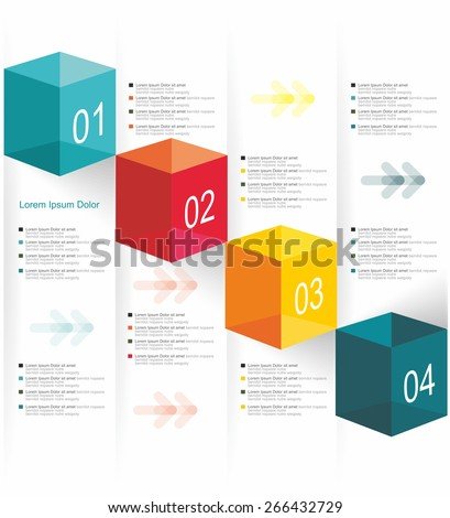 Vector numbered banners, infographic or web design template. - stock vector