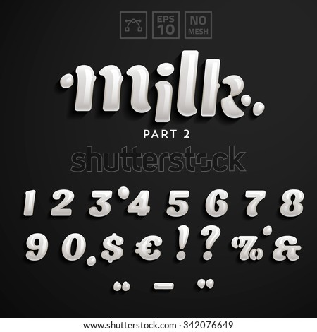 Vector numbers and symbols made of milk. Additional set for the Milk Font style. - stock vector