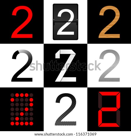 Vector numbers set. Nine different styles: (normal, timetable, wood, piano, origami, aluminum, digital and carbon) - 2 - stock vector