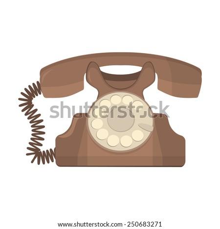 vector object retro telephone, old rotary phone - stock vector