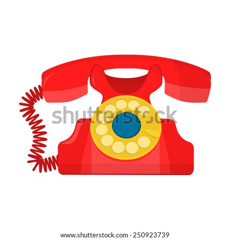 vector object retro telephone, old rotary phone - stock vector