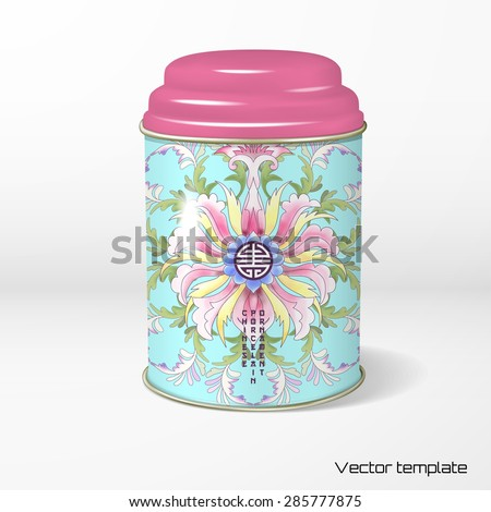 Vector object. Round tin packaging with a figured cover. Tea, coffee, dry products. Imitation of chinese porcelain painting. Watercolor background. Lotus flowers and leaves are painted by watercolor. - stock vector