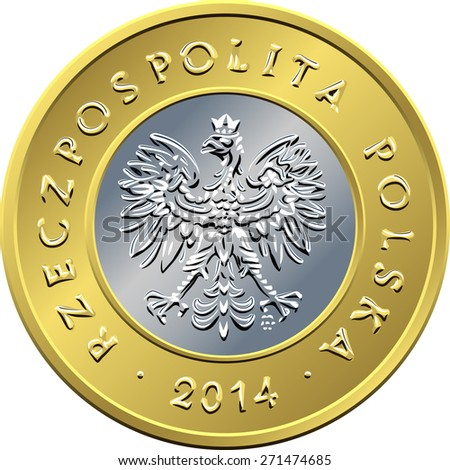vector obverse Polish Money two zloty gold and silver coin with eagle in a golden crown - stock vector