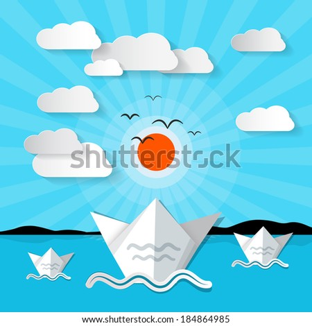 Vector Ocean Landscape with Clouds and Sun  - stock vector