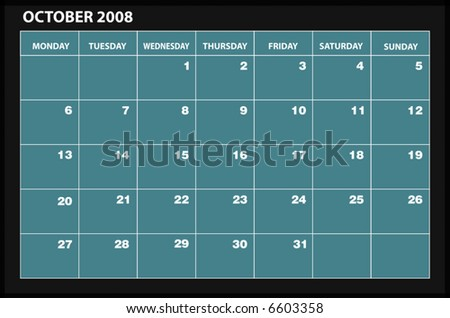 vector 2008 OCTOBER calender - stock vector