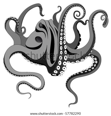 Vector octopus represented in the form of a tattoo. - stock vector