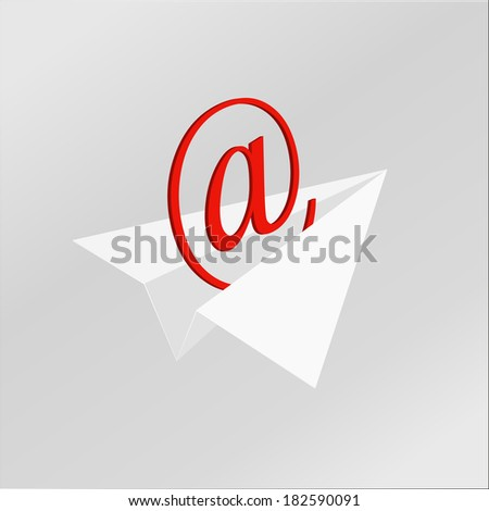 Vector of a badge of e-mail by paper plane