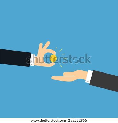 vector of a business man giving money. concept of funding,loan,bonus,helping etc. - stock vector