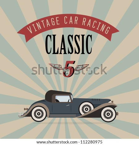 Vector of a classic vintage car - stock vector