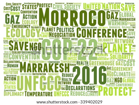 Vector of a cloud of words related to the COP 22 to be held in Marrakesh, Morroco, in 2016, about climate change and the fight against global warming. - stock vector