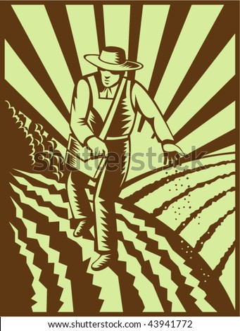 vector of a Farmer sowing seeds with sunburst done in retro woodcut style - stock vector