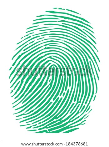 Vector of a green fingerprint - stock vector
