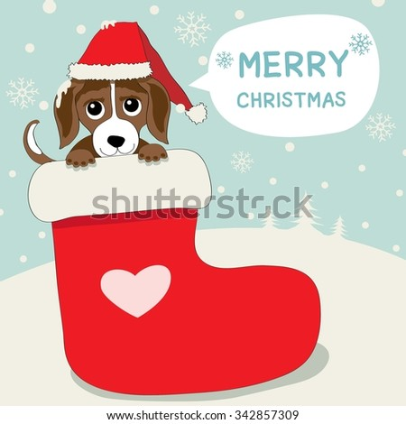 Vector of a little dog.He put on santa's hat and saying merry christmas in the stocking red. - stock vector