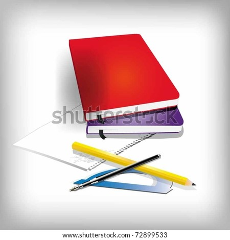 vector of a notepad with a pencil and ruler - stock vector