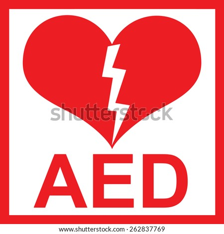 Vector of a red AED Sticker with heart shape and lightning - stock vector