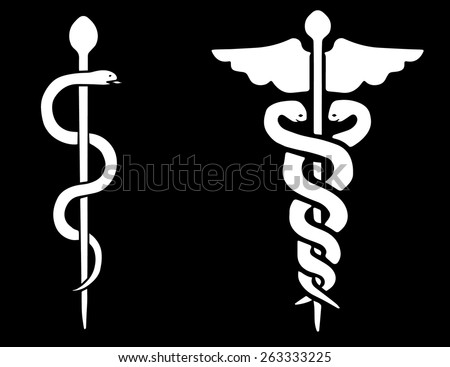 Vector of a Rod of Asclepius and a Caduceus on a black background - stock vector