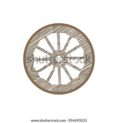 Vector of a wagon wheel. The wooden wheel. The wheel of the tent.