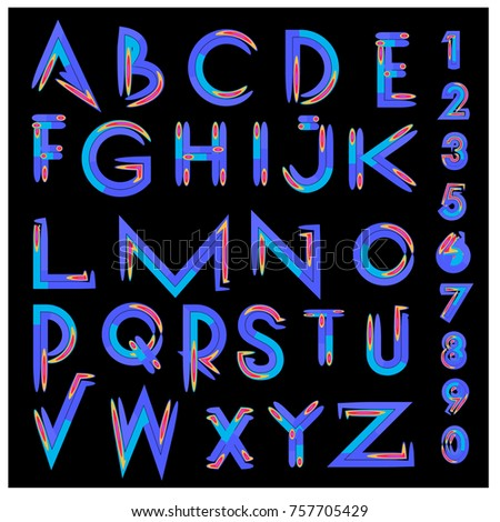 Vector of abstract colorful font and alphabet