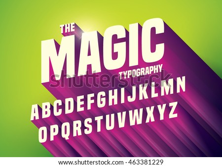 Vector of abstract embossed font and alphabet