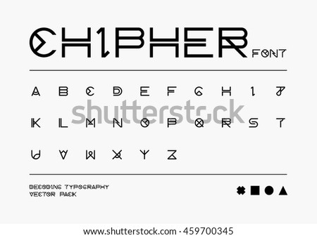 Vector of abstract stylized font and alphabet - stock vector