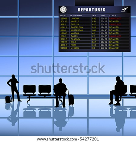 Vector of Airline passengers with luggage waiting for delayed flights to depart. JPG and TIFF image versions of this vector illustration are also available in my portfolio. - stock vector