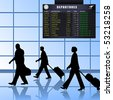 Vector of airline passengers with luggage walking past a flight departures information board. JPG and TIFF image versions of this vector illustration are also available in my portfolio. - stock vector