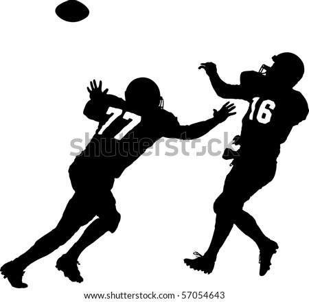 vector of american football players attacking - stock vector