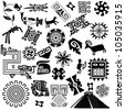 Vector of ancient american design elements on white - stock vector