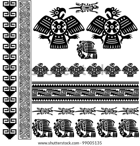 Vector of ancient american ornaments on white - stock vector