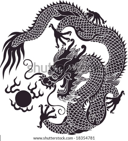 Vector of Ancient Traditional Chinese Artistic Dragon Pattern - stock vector