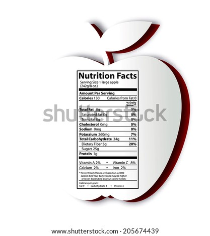 Vector of Apple with nutrition facts label. Healthy food, Clean Eating Concept. - stock vector