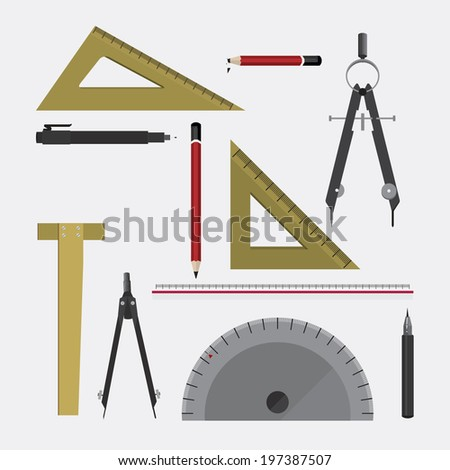 Vector architect tools stock vector 197387507 shutterstock for Architecture design tools free