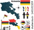 Vector of Armenia set with detailed country shape with region borders, flags and icons - stock vector