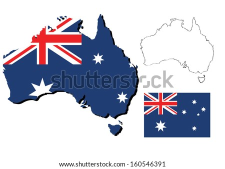 vector of australia map with flag inside - stock vector