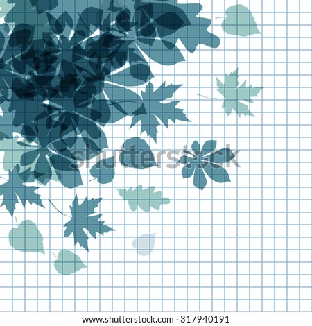 Vector of autumn dark blue leaves on a checkered paper background. - stock vector
