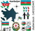 Vector of Azerbaijan set with detailed country shape with region borders, flags and icons - stock vector