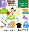 Vector of Back to School theme, notebook, crayons, chalkboard, lunchbox, stationery. A set of cute and colorful icon collection isolated on white background - stock vector