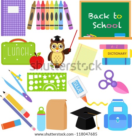 Vector of Back to School theme, notebook, crayons, chalkboard, lunchbox, stationery. A set of cute and colorful icon collection isolated on white background