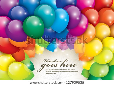 vector of balloons in various colors - stock vector
