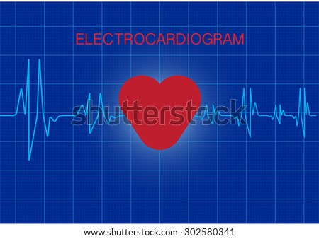 Vector of beating heart with wave frequency
