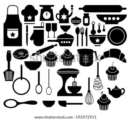 Vector of Big Set Kitchen Icon - stock vector