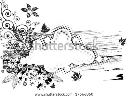 vector of Black and white Grunge Flora composition. - stock vector