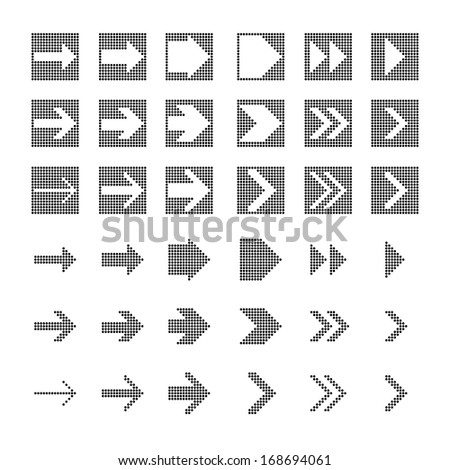 vector of black and white Polka dot arrow icon set