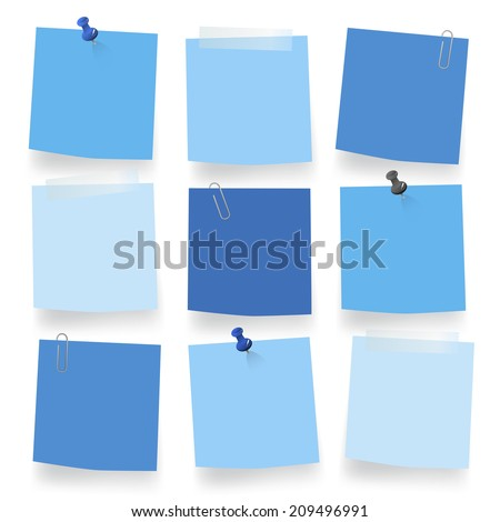 Vector of blue blank notes. - stock vector