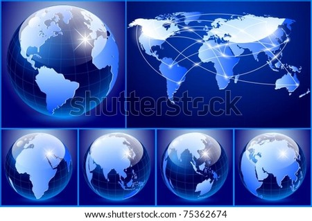 Vector of blue earth set - stock vector