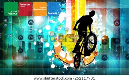 Vector of BMX cyclist - stock vector