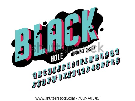 Vector of bold abstract font and alphabet